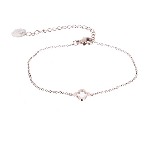 Made by Mila | Armband open klaver rose goud - Go Dutch Label 1
