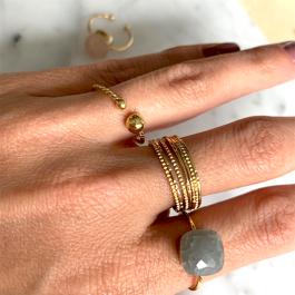 Ring grijze steen zilver – Mila