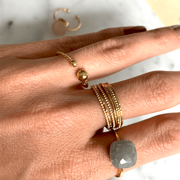 Made by Mila | Ring bruine steen zilver - Mila 1