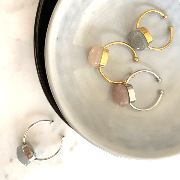 Made by Mila | Ring bruine steen zilver - Mila 2