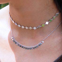 Choker ketting ruit zilver – Mila