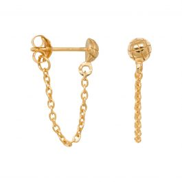 Snake stud chain earrings gold – Eline Rosina oorbellen