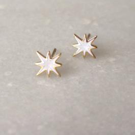 Oorbellen white sparkling star goud – ZAG Bijoux