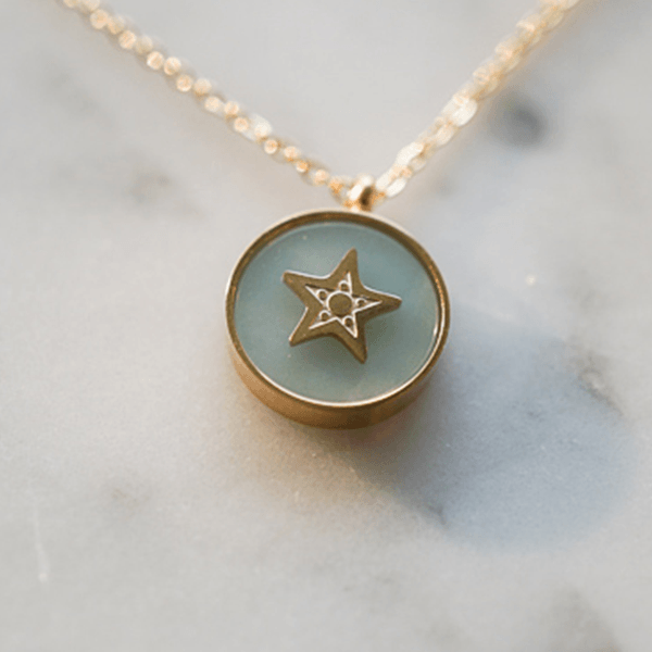 Made by Mila | Ketting star stone aqua gold - ZAG Bijoux 2