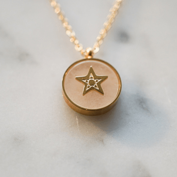 Made by Mila | Ketting star stone light pink gold - ZAG Bijoux 2