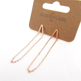 Oorbellen V chain rose goud – Go Dutch Label