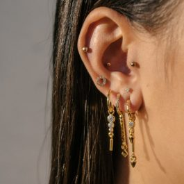 Zirconia circle earrings gold – Eline Rosina oorbellen