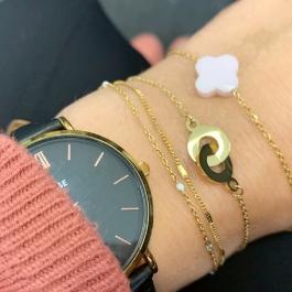 Armband goud/lichtroze klaver – ZAG Bijoux