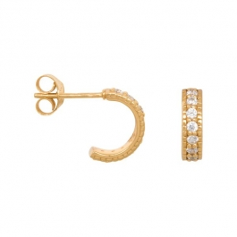 Chunky zirconia hoops in gold plated sterling- Eline Rosina oorbellen