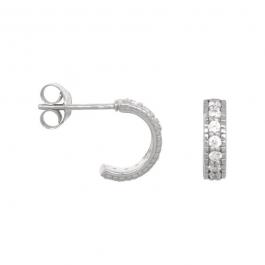 Chunky zirconia hoops in sterling silver- Eline Rosina oorbellen