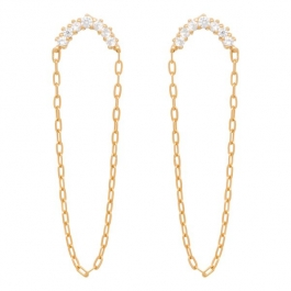 Half moon zirconia chain earrings in gold- Eline Rosina oorbellen