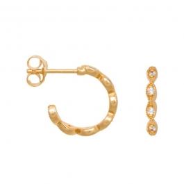 Victorian zirconia hoops in gold plated sterling silver- Eline Rosina oorbellen