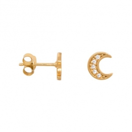 Zirconia moon earrings gold – Eline Rosina oorbellen