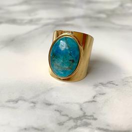 Ring goud met apatite steen- ZAG Bijoux