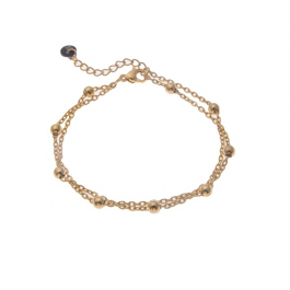 Armband goud balletjes dubbel  – Go Dutch Label