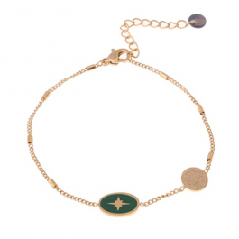 armband goud met groene north star hanger – Go Dutch Label