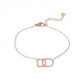 Armband open cirkel en klaver rose goud – Go Dutch Label