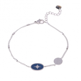 Armband zilver met donkerblauwe north star hanger – Go Dutch Label
