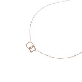 Ketting open cirkel en klaver rose goud – Go Dutch Label