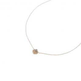 Ketting goud leaves en antraciet steen- Go Dutch Label