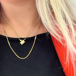 Ketting klassiek lang platte schakel goud – Go Dutch Label
