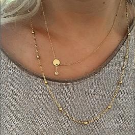 Ketting goud verstelbare hanger zirkonia – Go Dutch Label