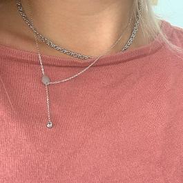 Ketting zilver verstelbare hanger zirkonia – Go Dutch Label
