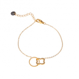 Armband open cirkel en klaver goud – Go Dutch Label
