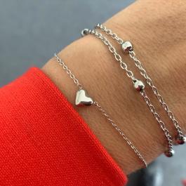 Armband hartje (3D) zilver – Go Dutch Label