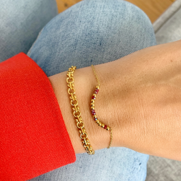 Armband goud stones red – Go Dutch Label