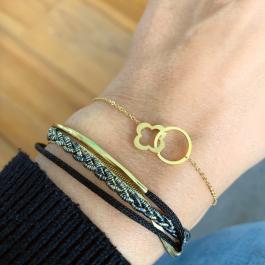 Armband dubbel goud met zwart – Go Dutch Label