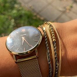 Armband wikkel goud met zwart – Go Dutch Label
