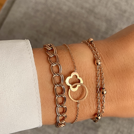 Armband rose goud balletjes dubbel  – Go Dutch Label