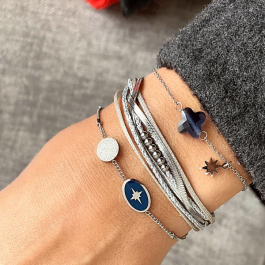 Armband blauwe klaver zilver – Go Dutch Label