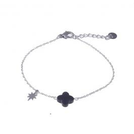Armbanden zwarte klaver zilver – Go Dutch Label
