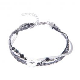 Armband dubbel zilver met zwart north star – Go Dutch Label