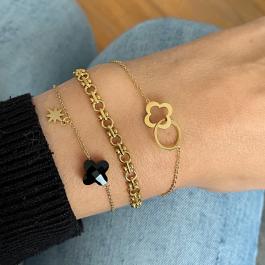 Armbanden zwarte klaver goud – Go Dutch Label