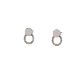 Oorbellen dubbele cirkel open dicht zilver – Go Dutch Label