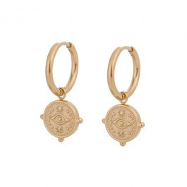 Oorbellen hanger eye coin goud – Go Dutch Label