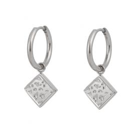 Oorbellen hanger vierkant zilver – Go Dutch Label