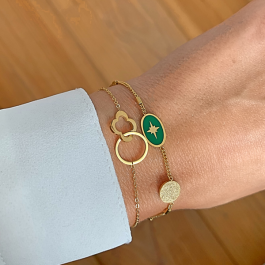 armband goud met groene north star hanger – Go Dutch Label