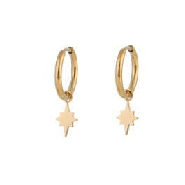 Oorbellen hanger north star goud – Go Dutch Label