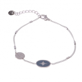 Armband zilver met grijze north star hanger – Go Dutch Label