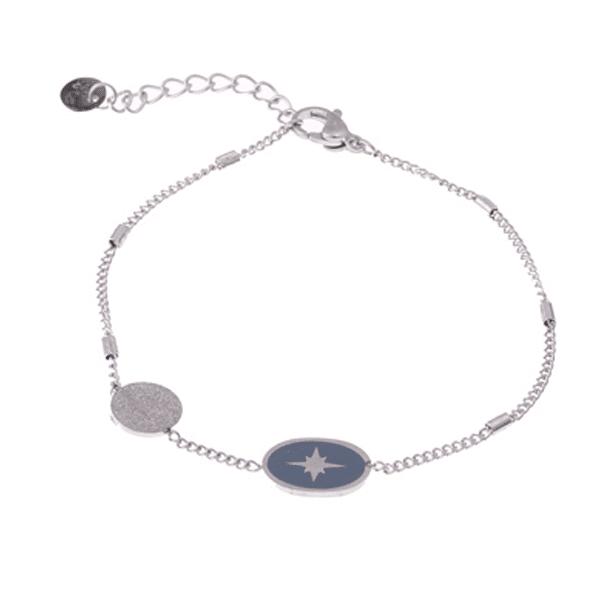 Made by Mila | Armband zilver met grijze north star hanger - Go Dutch Label 1