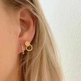 Oorbellen dubbele cirkel open dicht goud – Go Dutch Label