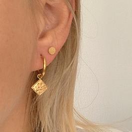 Oorbel stud rond met glinster goud – Go Dutch Label