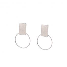 Oorbellen rechthoek ring zilver – Go Dutch Label