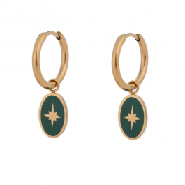 Oorbellen hanger north star groen goud – Go Dutch Label
