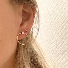 Oorbellen cirkel zirkonia goud – Go Dutch Label