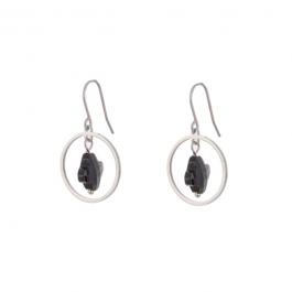 Oorbellen hanger klaver zwart zilver – Go Dutch Label